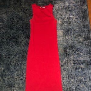 Zara ribbed cotton red dress size Xs